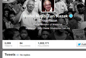 Najib ranked 15th most followed government leader in the world on Twitter