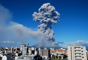 Clean-up works begin after volcano eruption in Kagoshima