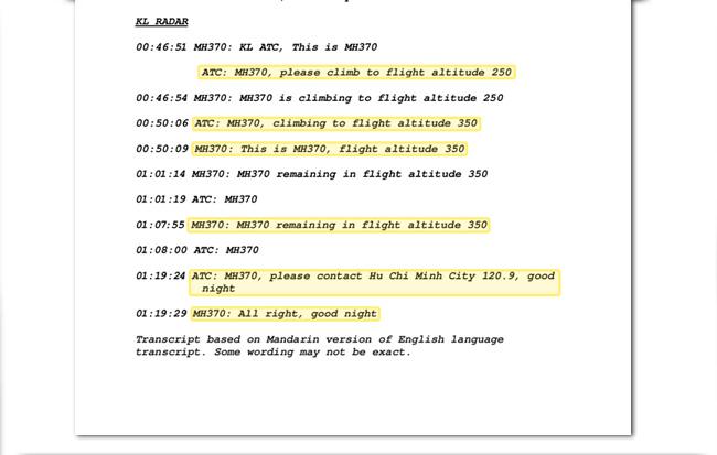 Transkrip perbualan juruterbang