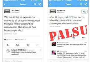 MH370: Tweet berbaur perkauman disebar oleh akaun Twitter palsu