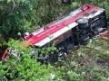 Pemandu maut, dua parah bas terjunam ke dalam gaung