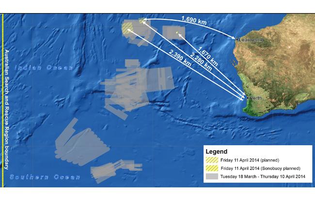 Lokasi pencarian pesawat MH370 hari ini
