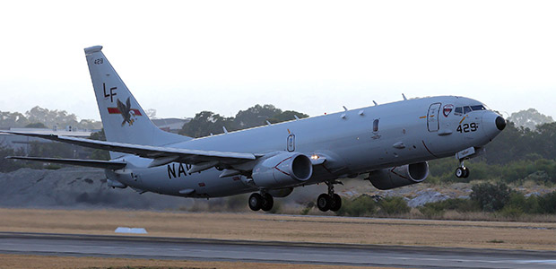 A U.S. Navy plane P-8 Poseidon deployed in the search operation for the missing flight MH370. -AP Photo