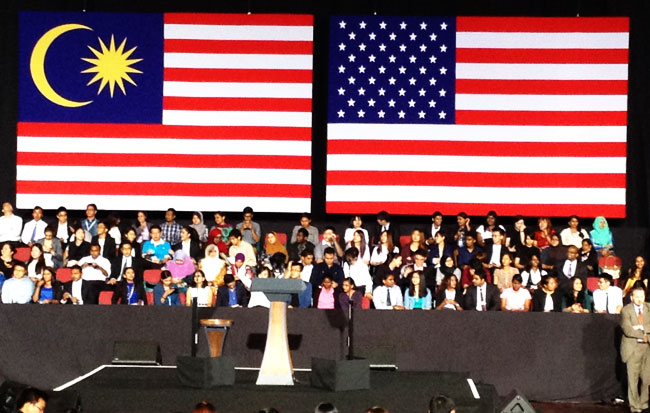 Pentas Presiden Barack Obama akan berucap di Universiti Malaysia
