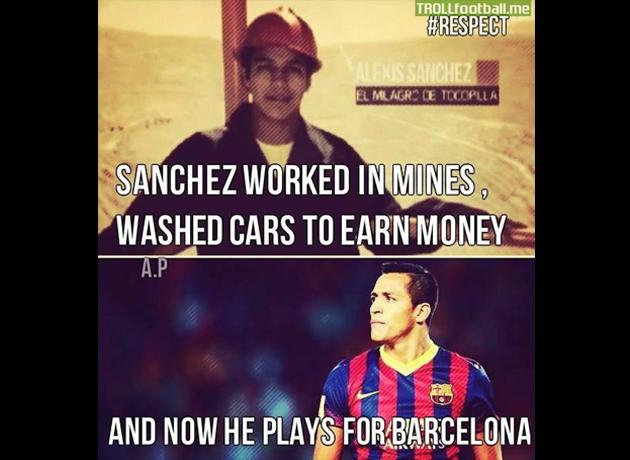 Sanchez pernah bekerja di lombong sebelum bergelar pemain bola sepak profesional