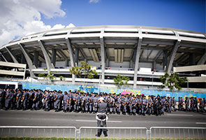 POLICE DISPERSE WORLD CUP PROTEST WITH TEAR GAS