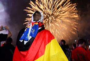 JOY, FIREWORKS IN BERLIN AFTER WORLD CUP THRILLER