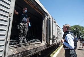 Gerabak keretapi tiba di Kharkiv