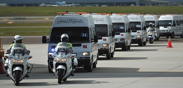 10 hearses have been prepared to receive the remains of 20 Malaysian MH17 victims at the KLIA Friday, Aug 22. - Astro AWANI/Shahir Omar