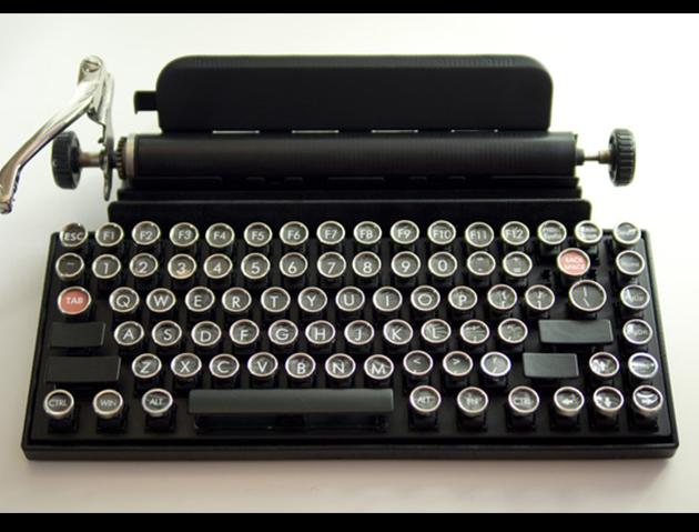The Qwerkywriter is an 84 key, USB, Bluetooth enabled, typewriter-inspired mechanical keyboard