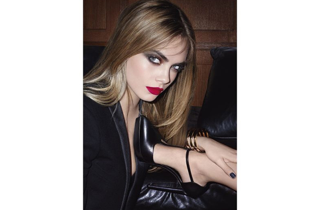 Cara back to promote YSL's new make up line.