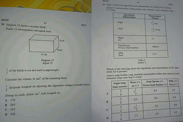 Soalan kertas Matematik UPSR yang dikatakan bocor.