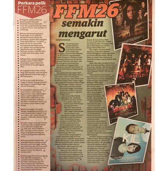 "Artikel ""FFM26 semakin mengarut"" dalam Pancaindera pada Ahad"