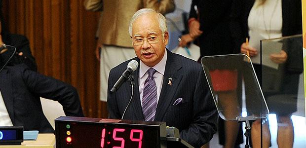 Perdana Menteri Datuk Seri Najib Tun Razak menyampaikan ucapan sempena Sidang Kemuncak Iklim Pertubuhan Bangsa-bangsa Bersatu (PBB) di Ibu Pejabat PBB di New York, Selasa. - Foto Bernama