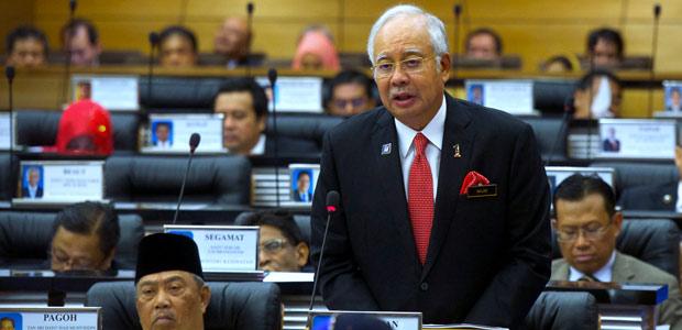 Perdana Menteri Datuk Seri Najib Razak ketika membentangkan Kertas Putih IS di Dewan Rakyat pada Rabu. - fotoBERNAMA