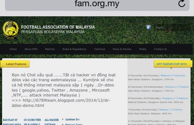Laman web FAM digodam susulan kemenangan Vietnam ke atas Malaysia dalam perlawanan yang dicemari insiden penyokong Vietnam dibelasah penyokong Malaysia.