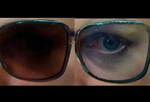 Eyeglasses turn to sunglasses upon command