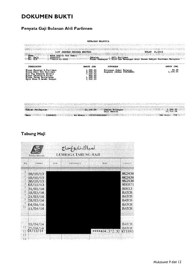 Lampiran Akuan Berkanun Pengisytiharan Harta, Hutang, Pendapatan dan Perbelanjaan Rafizi Ramli.