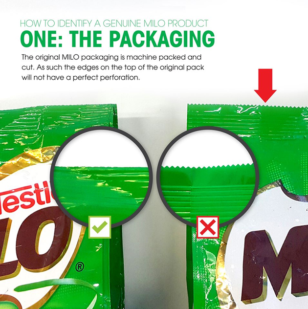 Perbezaan produk Milo asli (kiri) dan tiruan (kanan)