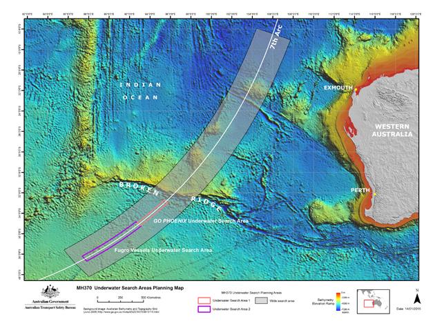 kawasan pencarian laut dalam MH370