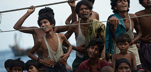 An undated image of Rohingya who were left stranded at sea in Southeast Asia. - File Photo