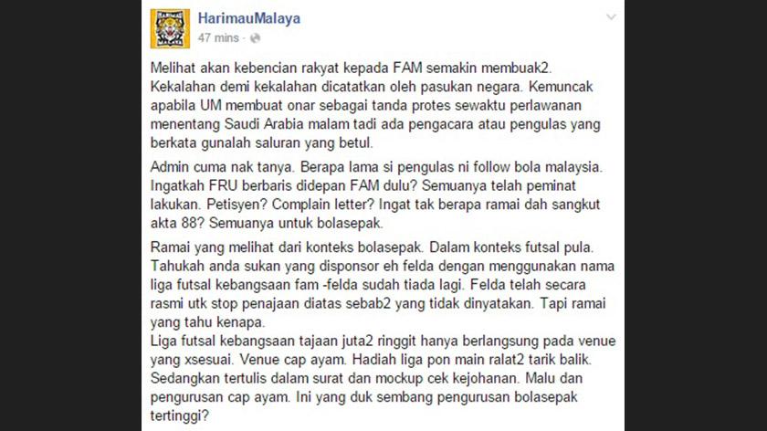 Facebook Harimau Malaya 1