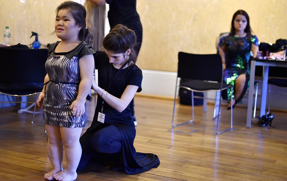 A Model Gets Ready Prior To The National Dwarf Fashion