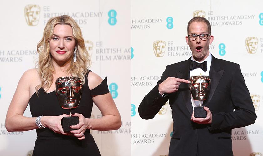Kiri: Aktres Pembantu Terbaik BAFTA, Kate Winslet yang membintangi filem Steve Jobs. Kanan: Pete Docter bersama trofi Filem Animasi Terbaik yang dimenangi menerusi Inside Out terbitan Disney - Foto AP