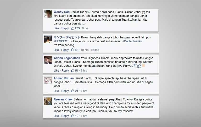 Respon netizen terhadap titah Sultan Johor