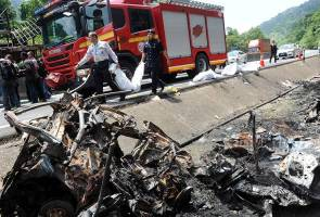 Charred remains of four found in burnt car that burst into flames after losing control