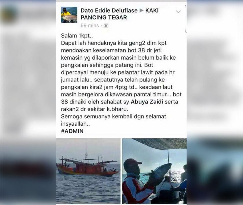 11 pemancing dikhuatiri hilang selepas pulang dari memancing berhampiran pelantar minyak Lawit.