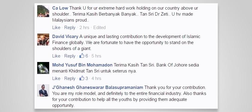 Antara komen dan ucapan selamat tinggal di Facebook Bank Negara Malaysia.