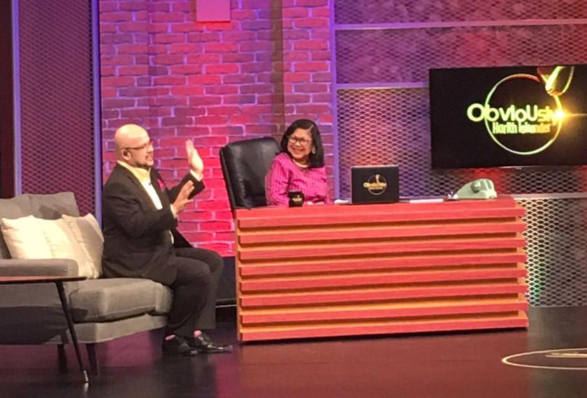 Rafidah in the spotlight on the 'Obviously Harith Iskander' talkshow. - Astro AWANI