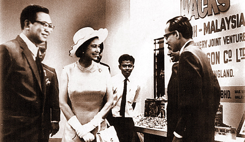 Queen Elizabeth stopping by at the Hacks pavilion during an official visit to Penang in the 1960s. - BERNAMApic