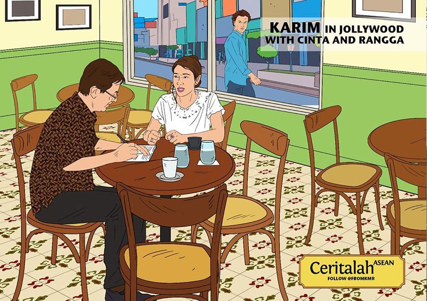 Karim in Jollywood with Cinta and Rangga. - Karim Raslan illustration