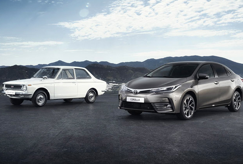 The 1966 Toyota Corolla alongside the 2016 Toyota Corolla. - Toyota/AFP Relaxnews