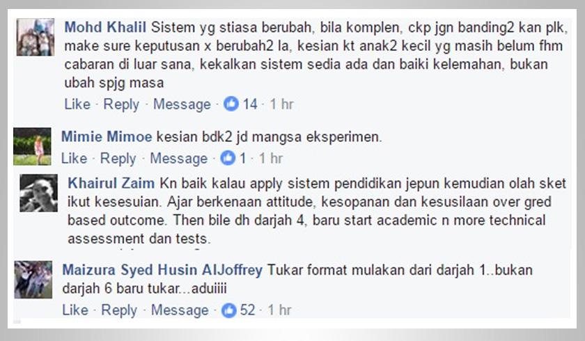 Antara reaksi di Facebook.
