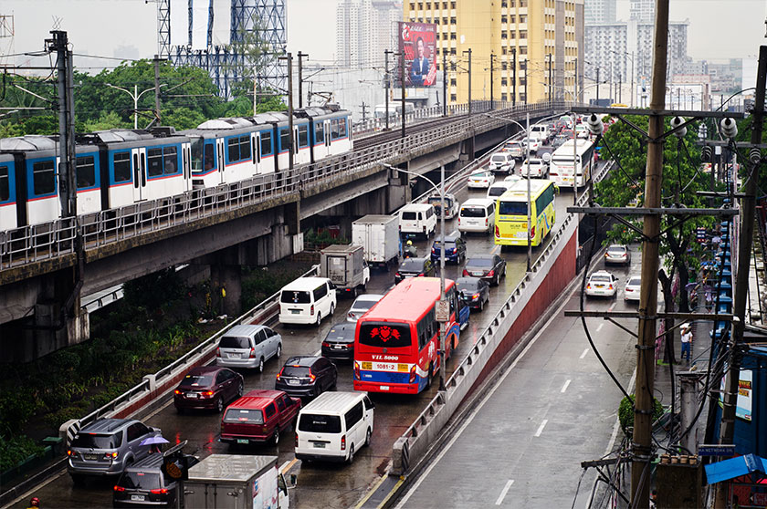 Epifanio de los Santos Avenue (or EDSA) is the main ring road around Metro Manila, stretching  almost 24 km. It is often congested throughout the day from commuters getting around the city. - Photo: Karim Raslan