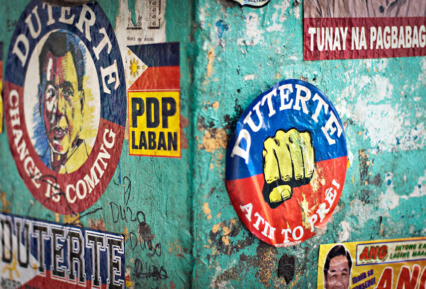 Duterte memorabilia can be seen all over the city, stuck on the walls, tricycles, and cars of his supporters. - Photo by Karim Raslan