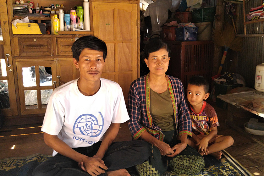 Hlaing Min with his mother, Khin Thida, and nephew. As the only son, Hlaing Min is the main breadwinner in his family, supporting his mother, sisters and their children. His father passed away when he was just four years old. - Karim Raslan Photo