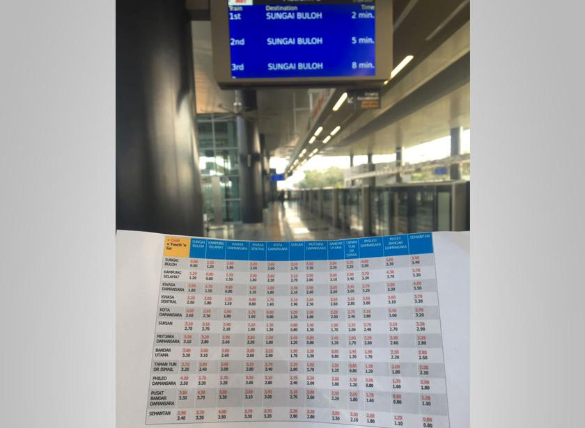 Senarai kadar tambang MRT berkuatkuasa hari ini.