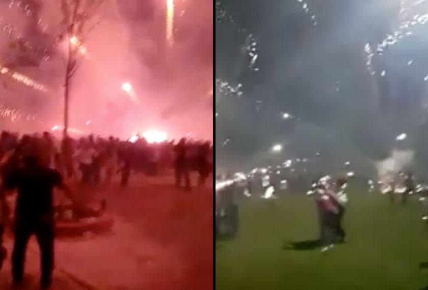 Keadaan gawat dirasakan seketika di Kompleks Sukan Pandamaran, Klang malam tadi apabila pertunjukan bunga api tidak berlangsung baik seperti yang dirancang. - Foto: Sumber Facebook
