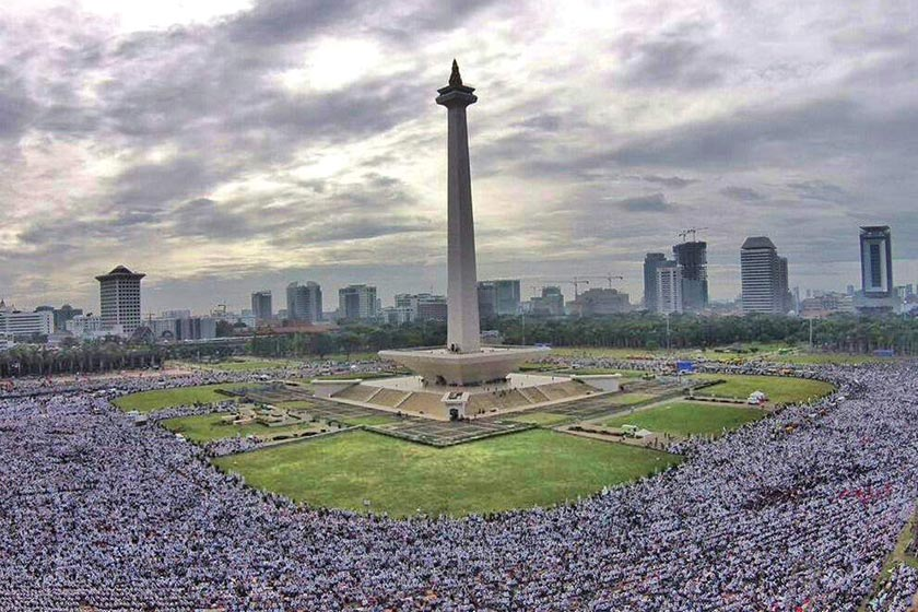 "More than 150,000 demonstrators gathered at Indonesian National Monument (Monas) protesting against Ahok's ""blasphemous"" statements. - Karim Raslan Photo"