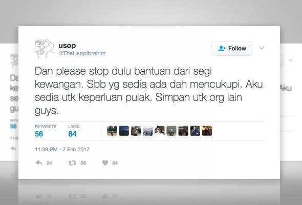 Cerita yang disebarkan oleh Muhammad Amirullah Zulkapli Daud atau lebih dikenali sebagai @TheUsopIbrahim tular di media sosial.