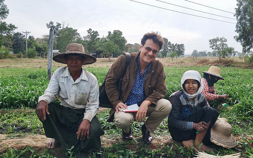 Karim Raslan with U Ko Aye and his 21-year-old daughter, Ei Twel Aye who helps out around the farm. Karim Raslan Photo