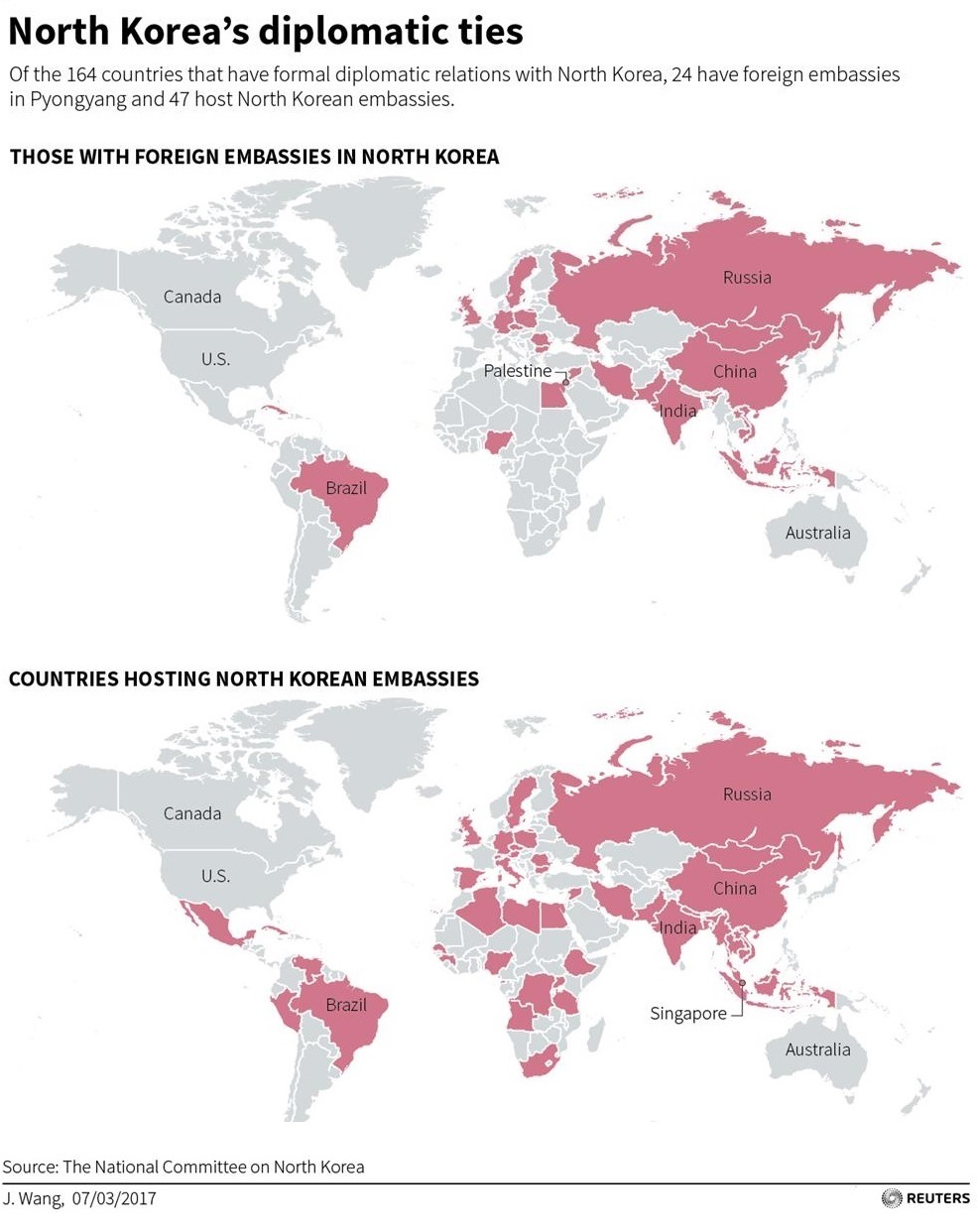 World Map Of Diplomatic Ties With North Korea Astro Awani - Foreign embassies in the us map