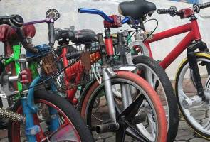 Police detained 13 teenagers, dubbed as 'Jempol' cycling group, after they were found to have been riding modified bicycles in a dangerous manner in Jalan Denai, Taman Bukit Raya.