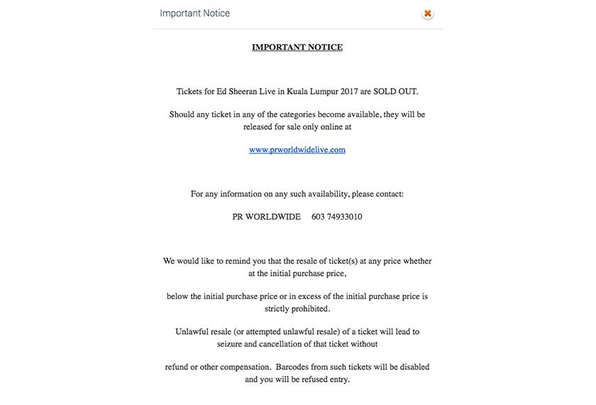 Kesemua 12,000 tiket untuk konsert Ed Sheeran di Malaysia habis dijual 30 minit kepada umum telah mencetuskan pelbagai reaksi netizen di negara ini.