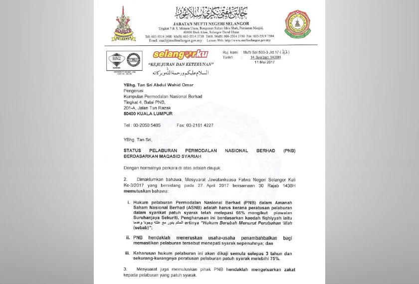 Surat Mufti Selangor yang dimuat naik di laman web Jabatan Mufti.