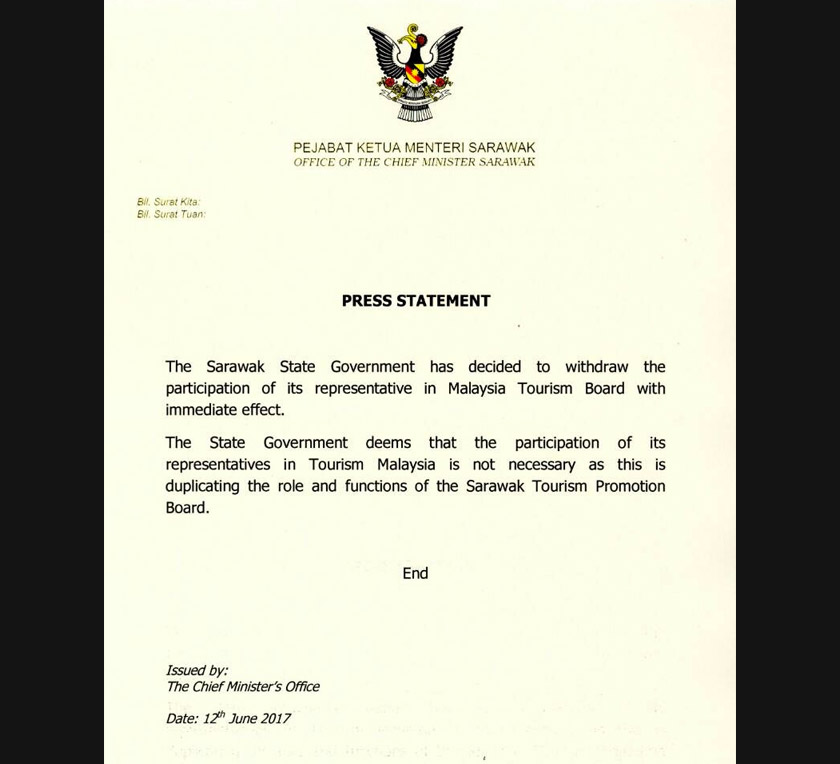 The media statement from Sarawak state government.